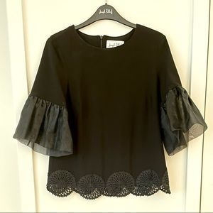 Black Top with Sheer Ruffle Sleeves size 8